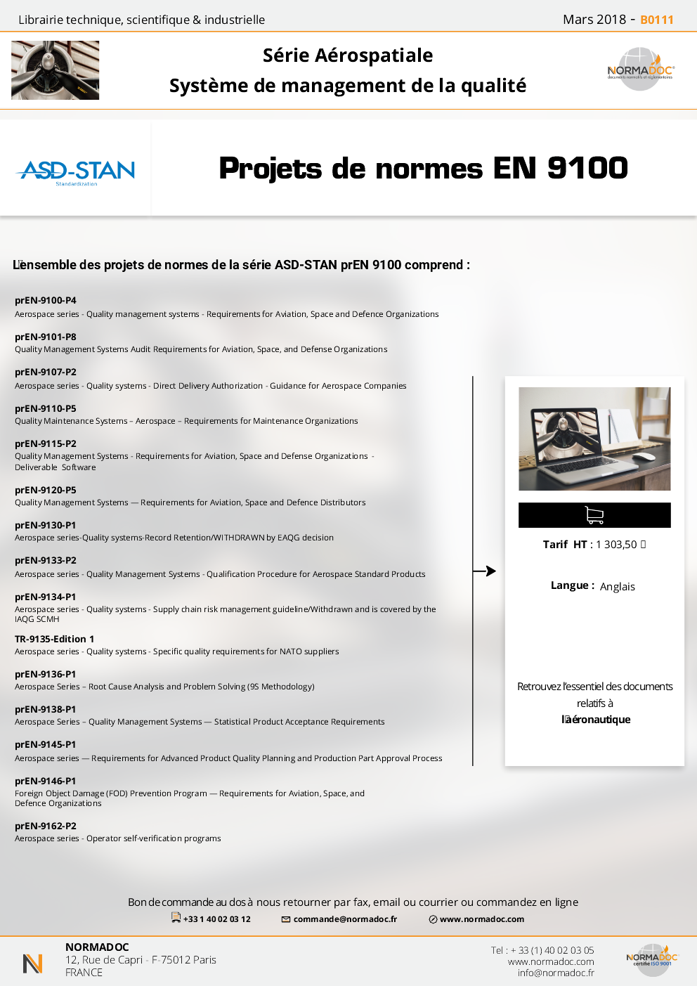 Projets de normes EN 9100