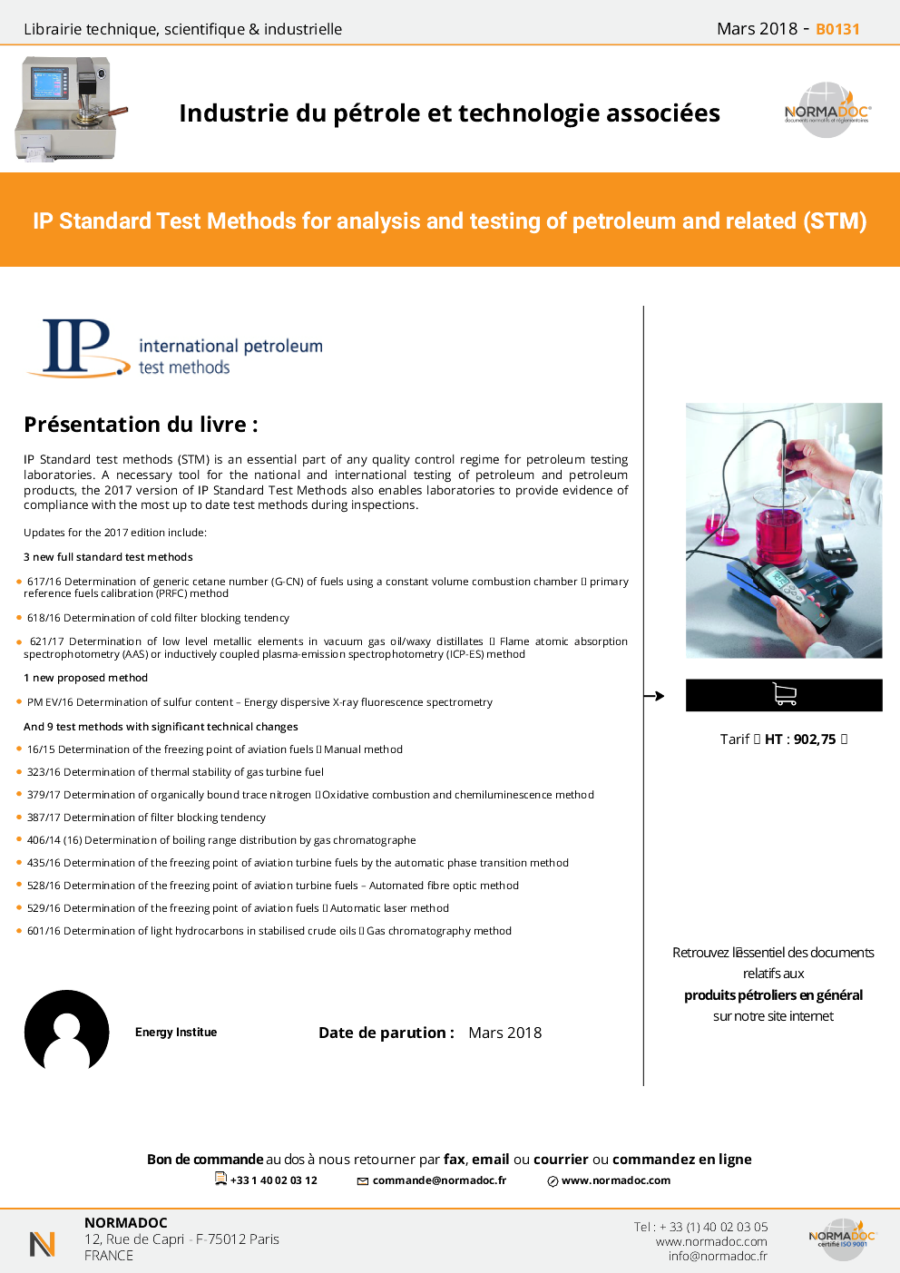 IP Standard test methods (STM) 2016