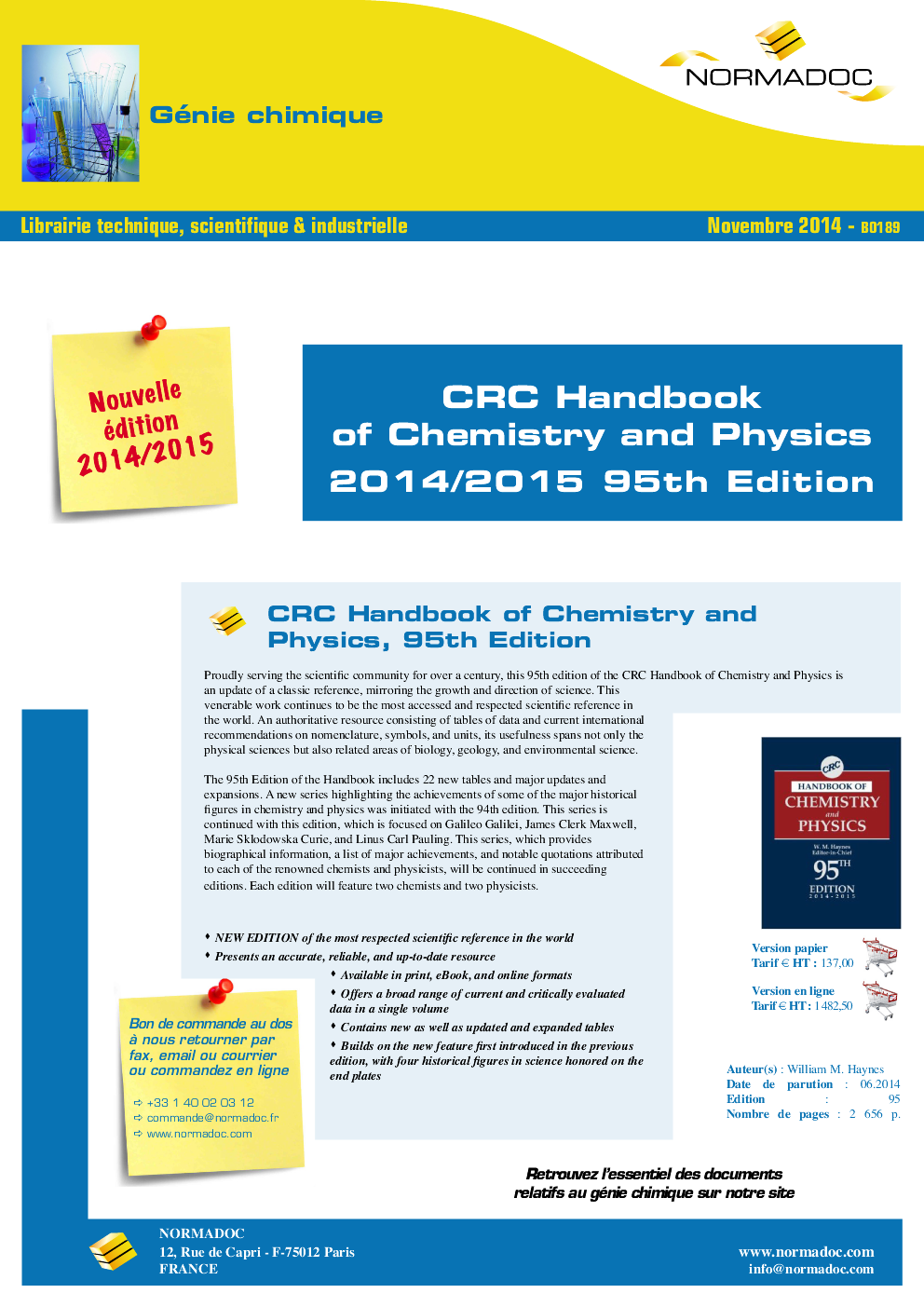 CRC Handbook of Chemistry and Physics, 95th Edition