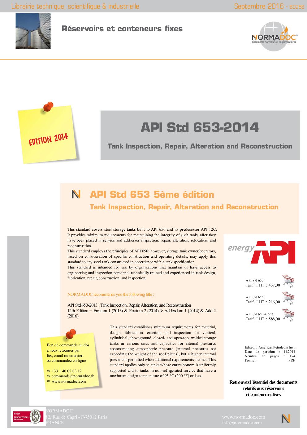 API std 653-2014