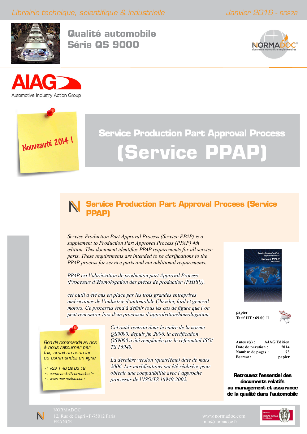 Service PPAP - Service production Part Approval Process