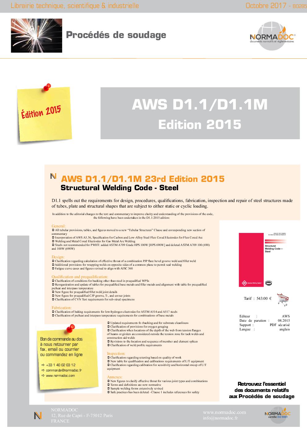 AWS D1.1/D 1.1M:2015