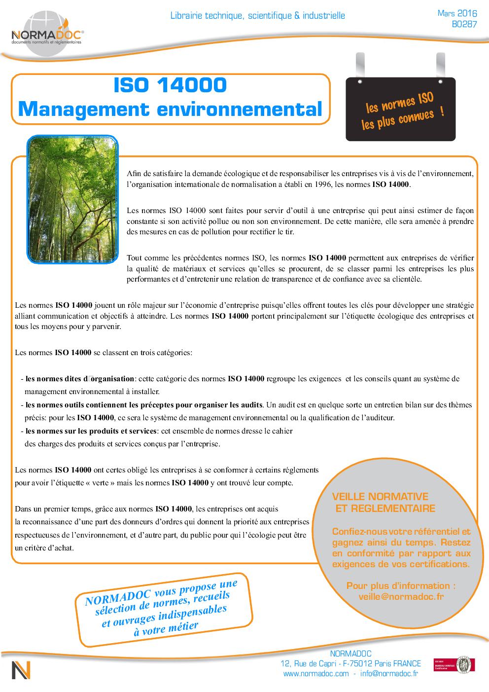 ISO 14000 Management environnemental