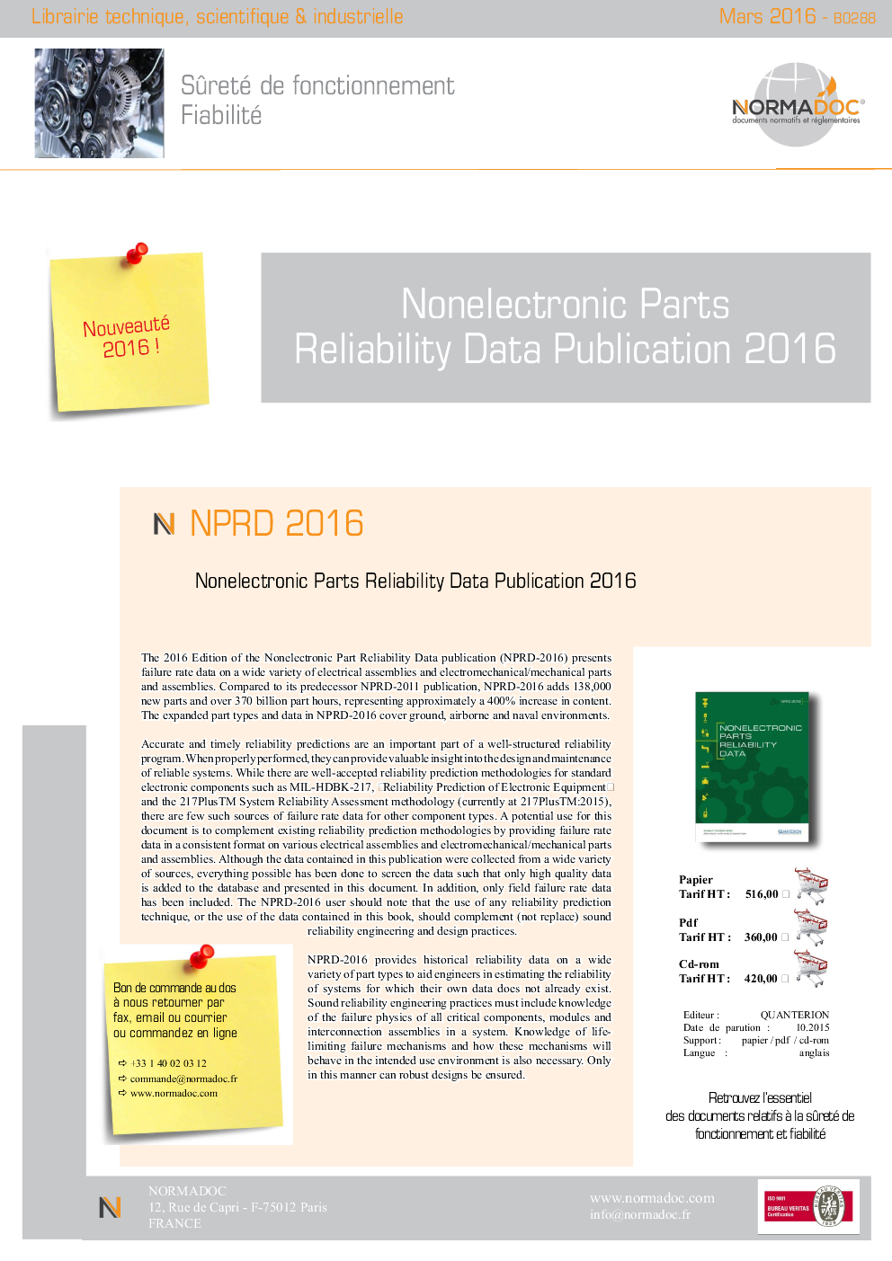 Nonelectronic Parts Reliability Data Publication 2016