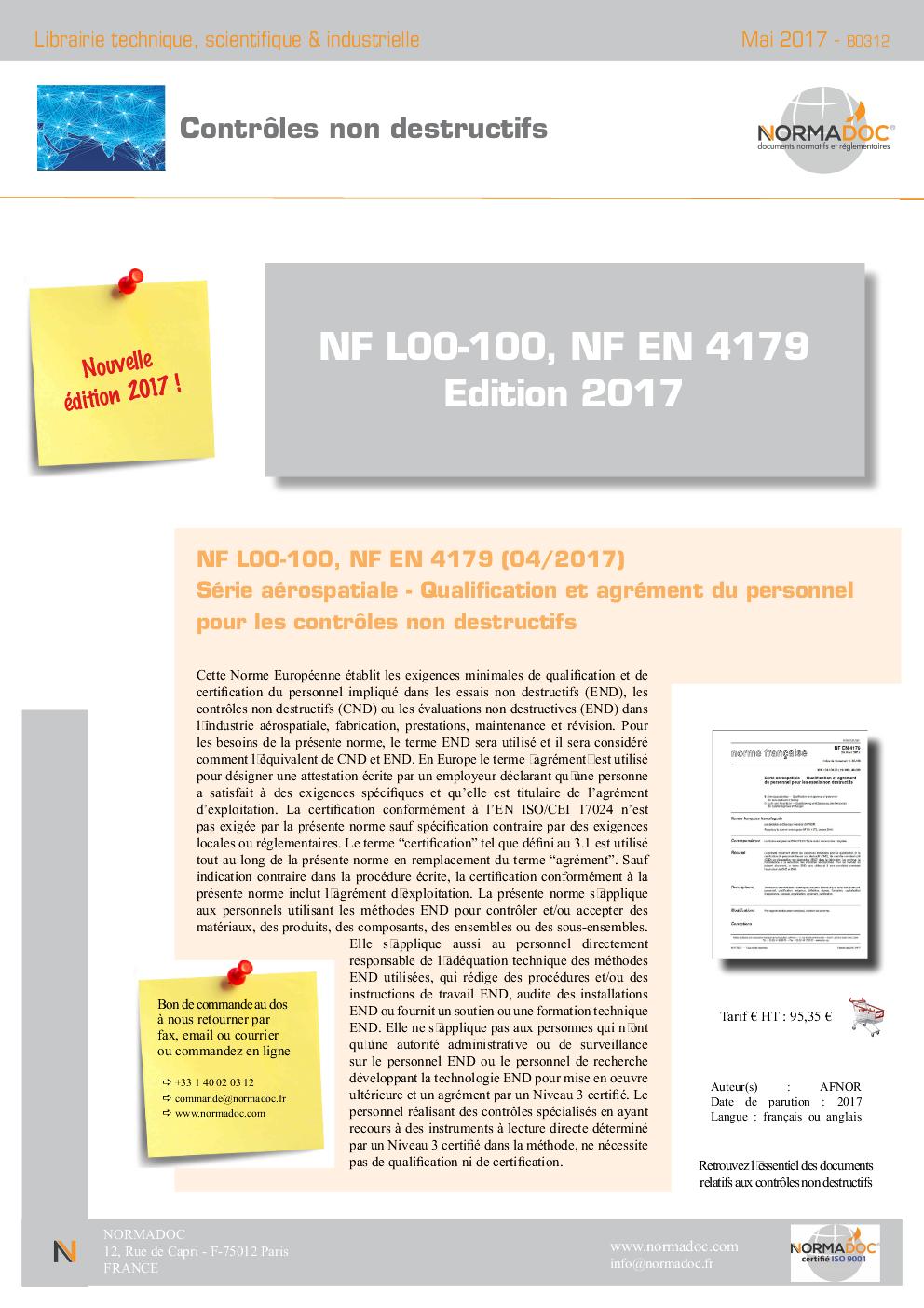 NF L00-100, NF EN 4179 Edition 2017
