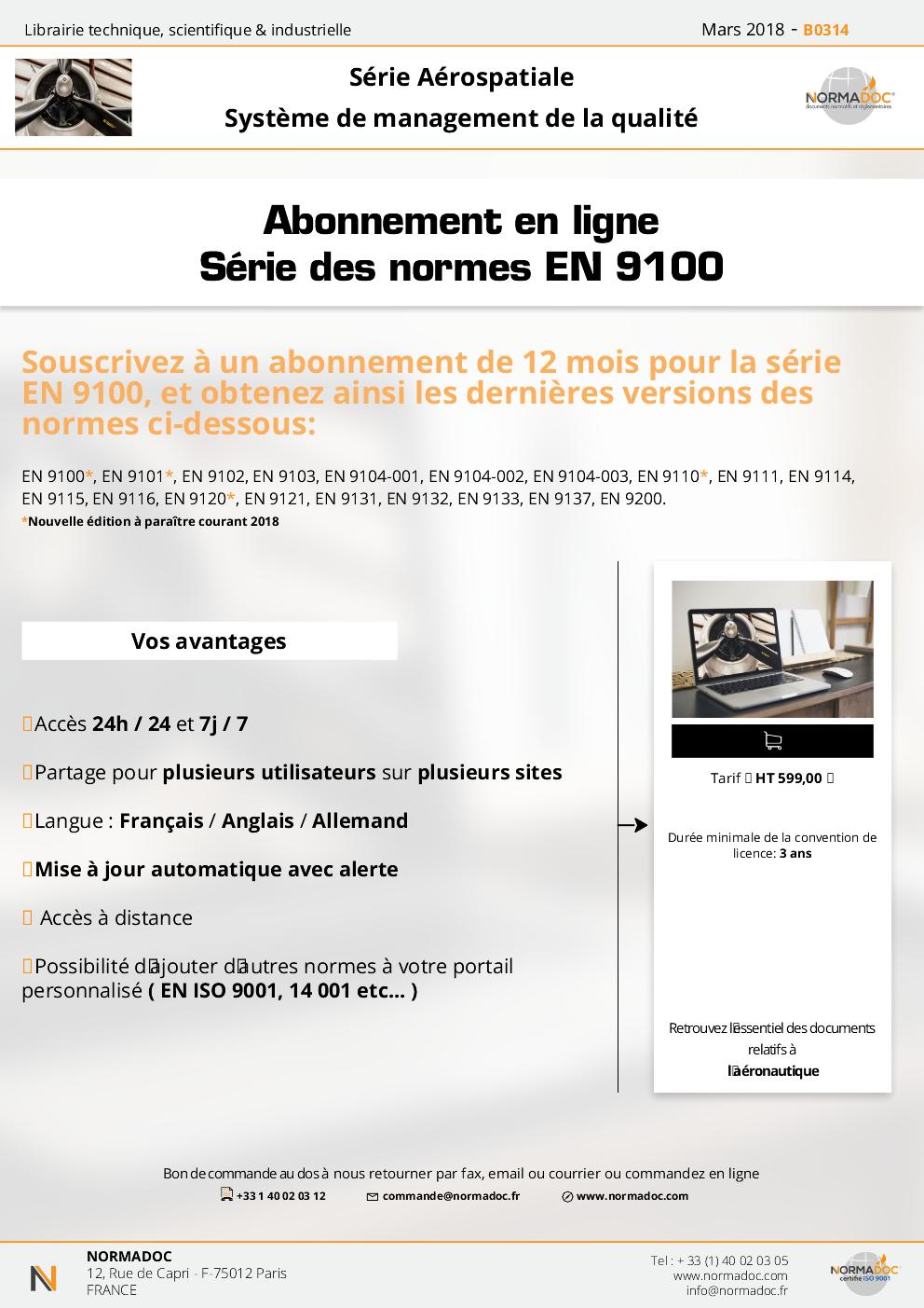 Abonnement en ligne - Série des normes EN 9100
