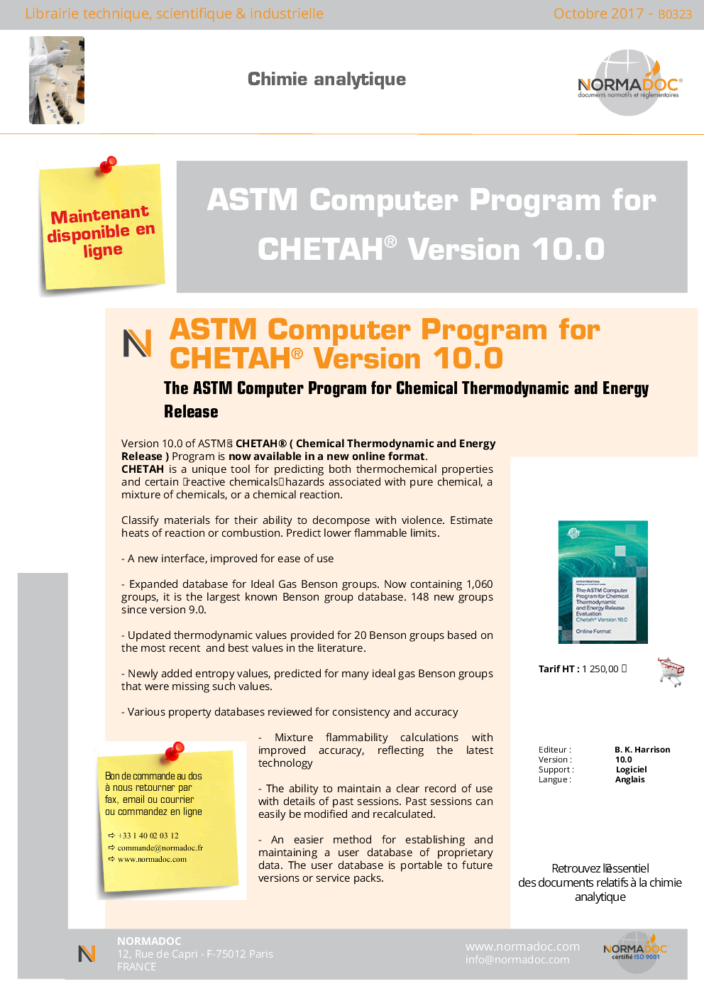 The ASTM Computer Program for Chemical Thermodynamic and Energy Release
