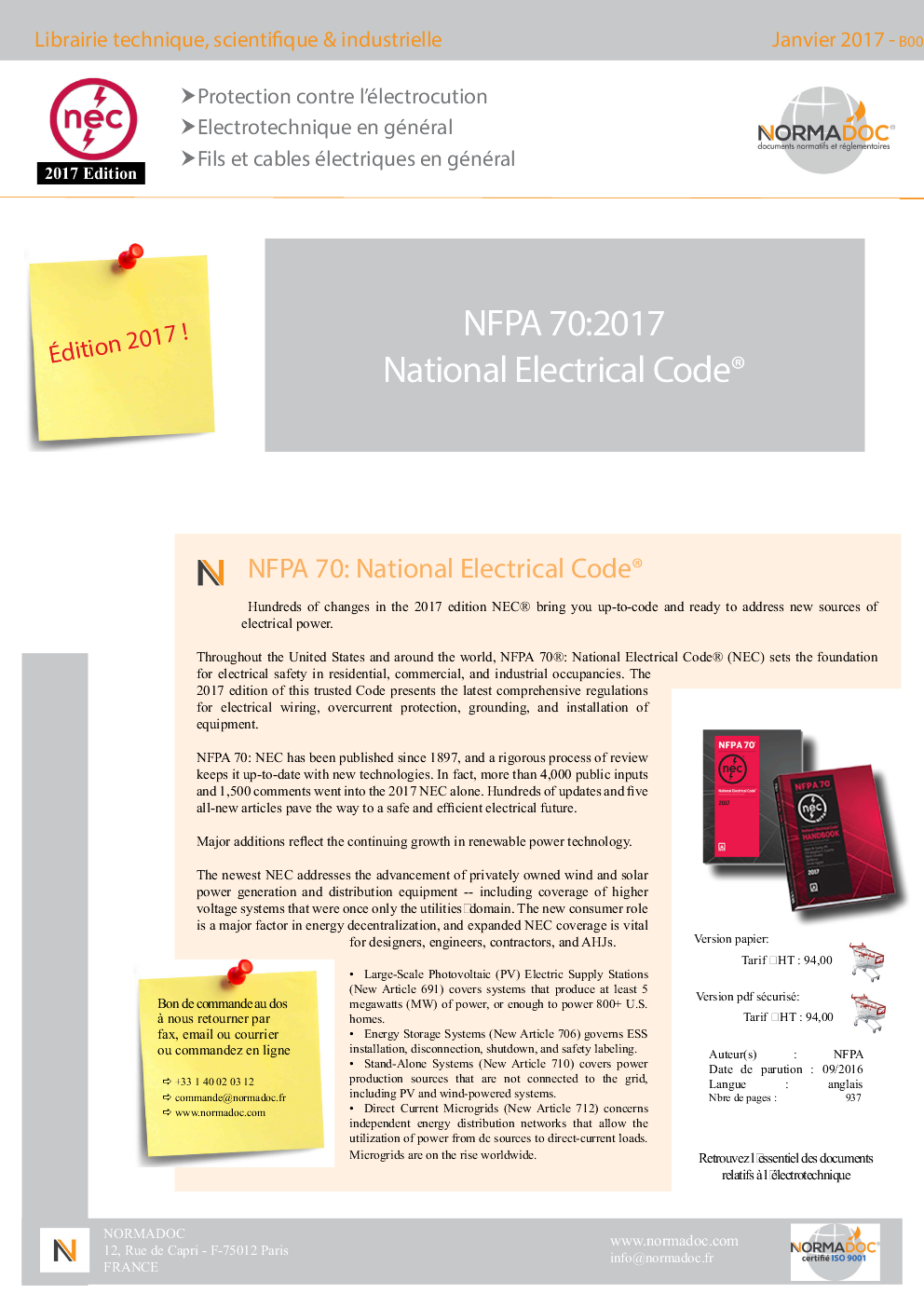 NFPA 70 : National Electrical Code (NEC) Edition 2017